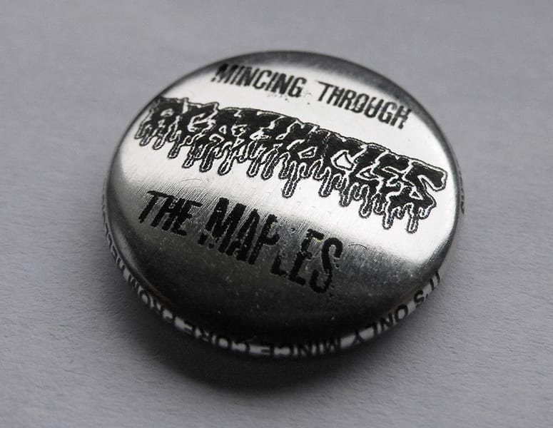"AGATHOCLES ""mincing through the maples"" button"